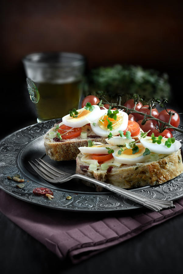 Egg and Cress Sandwich. Open egg and cress sandwich with farmhouse loaf with cranberries, sunflower and pumpkin seeds against a rustic setting. Perfect image for royalty free stock images