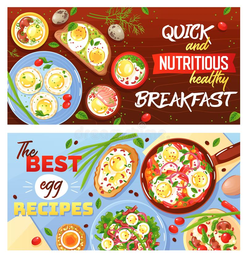 Egg Dishes Horizontal Banners vector illustration