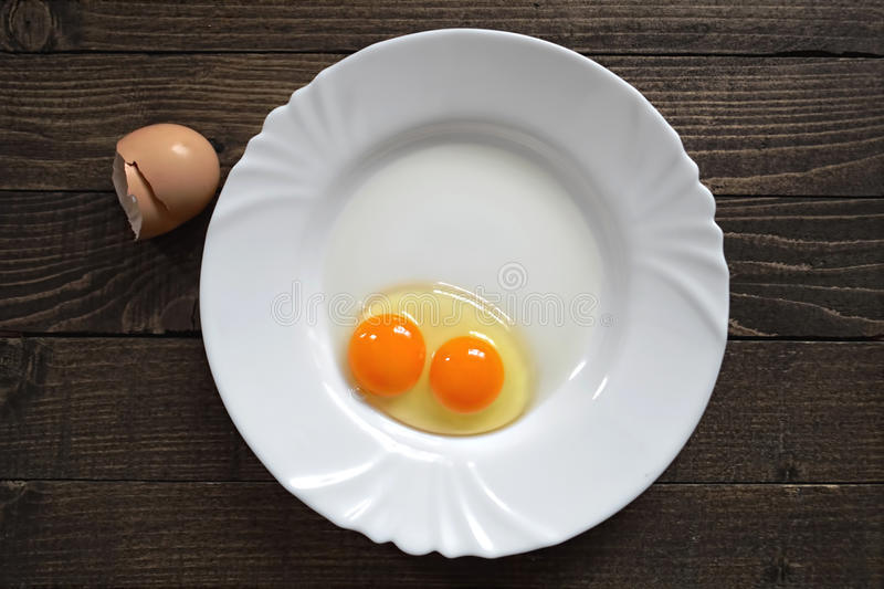 Egg with double yolk. On royalty free stock images