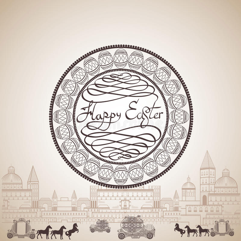 Egg easter car and coach town engraving vector illustration
