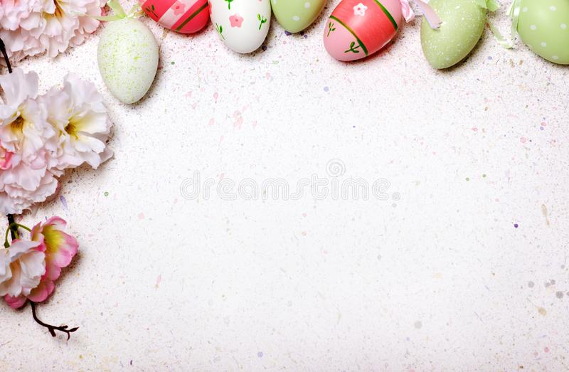 Easter egg cute and flowers background royalty free stock photos