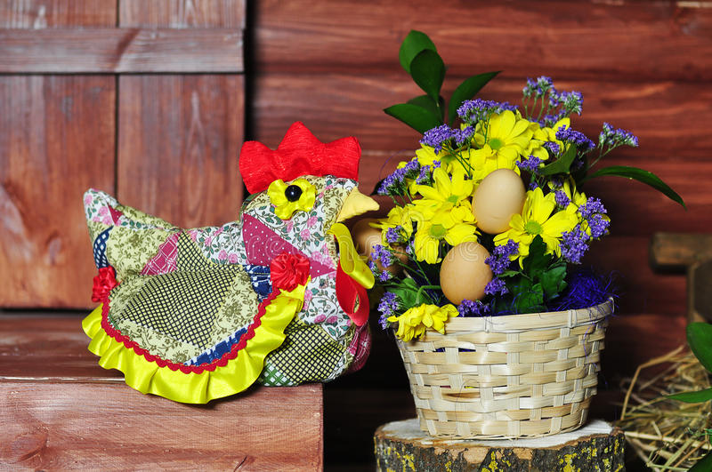 Egg. Easter eggs in a pot with a potted flower stock photography