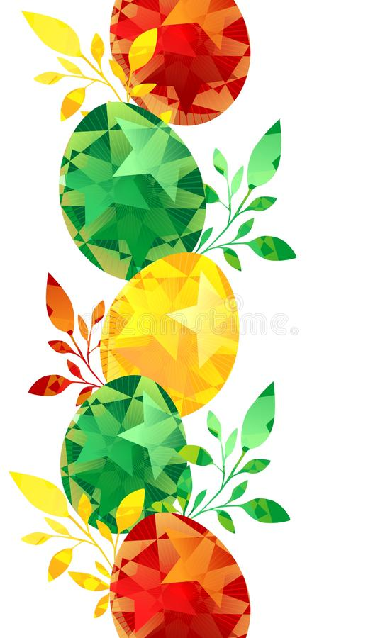 Easter eggs painted border, coloful with leaves can be used for greeting cards or invitations, ad, background, wallpaper. Egg eggs painted border coloful leaves royalty free illustration