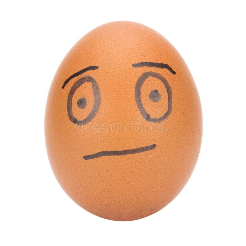 egg el concepto del hombre de la cara aislado en el fondo blanco foto de archivo