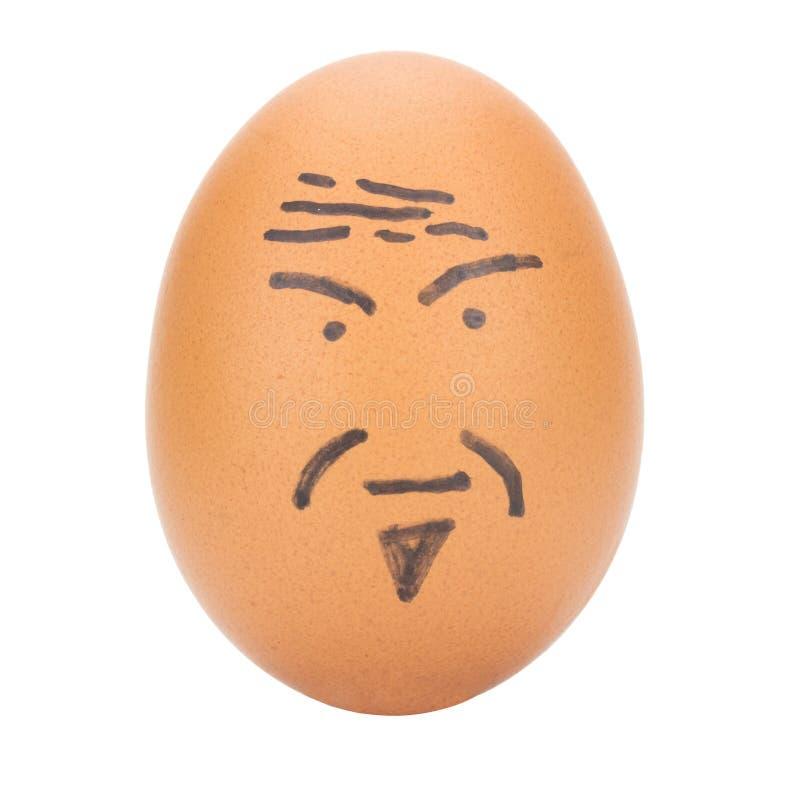 egg el concepto del viejo hombre de la cara aislado en el fondo blanco foto de archivo