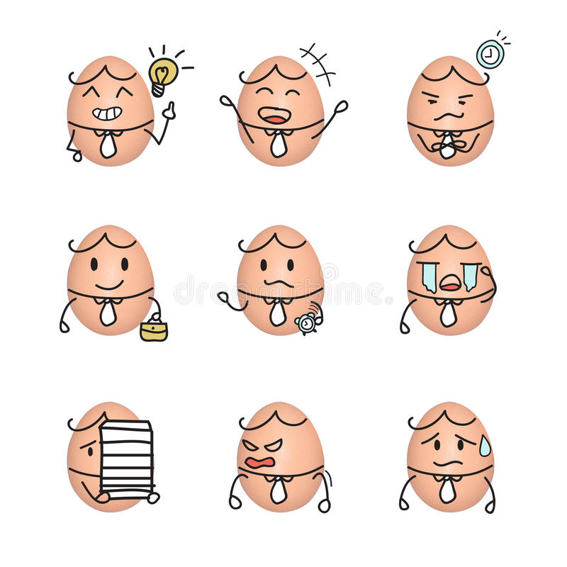 Egg emoticon - business man action cartoon cute to draw the line stock illustration