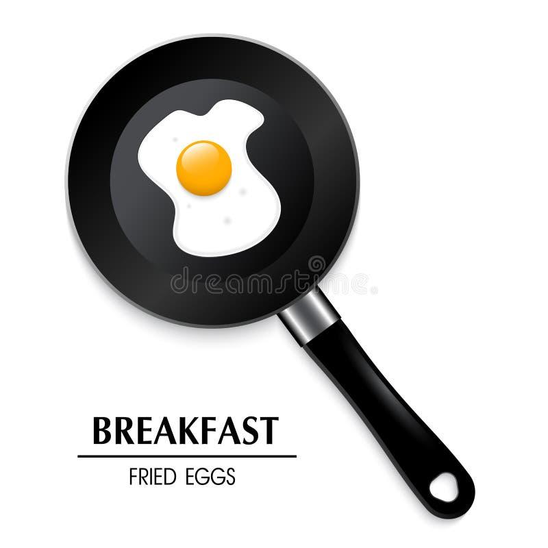 Egg en un sartén los huevos fritos del desayuno un 3D stock de ilustración