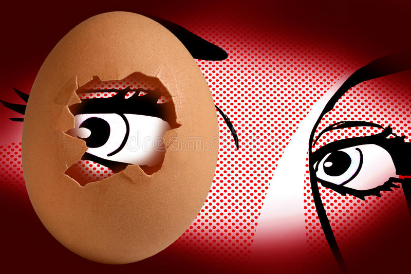Egg and eye royalty free stock photo