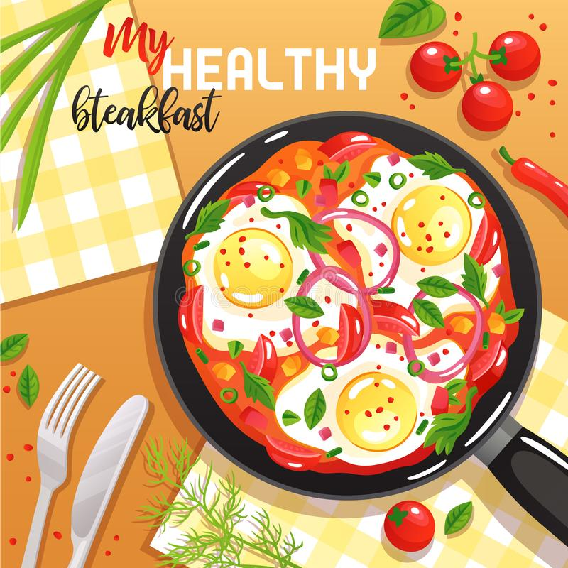 Egg Frying Pan Illustration. Healthy breakfast with eggs vegetables and greenery on frying pan at table top view flat vector illustration royalty free illustration