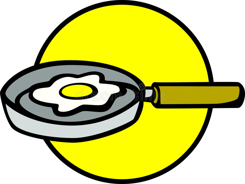 Egg on a frying pan vector illustration. Vector illustration of an egg on a frying pan stock illustration