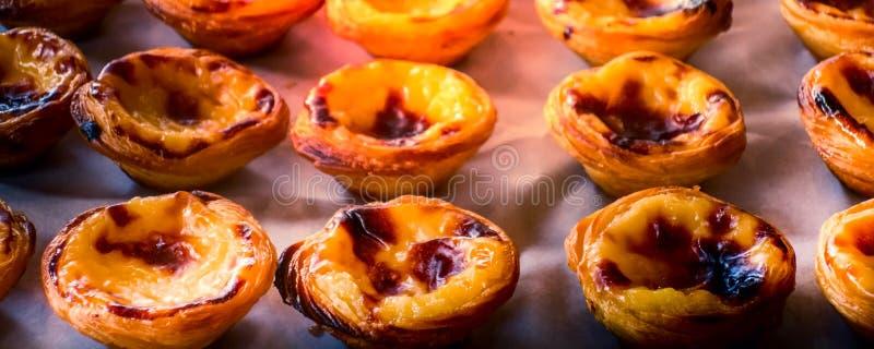Egg a gald?ria, sobremesa portuguesa tradicional, cor pastel de nata fotografia de stock royalty free