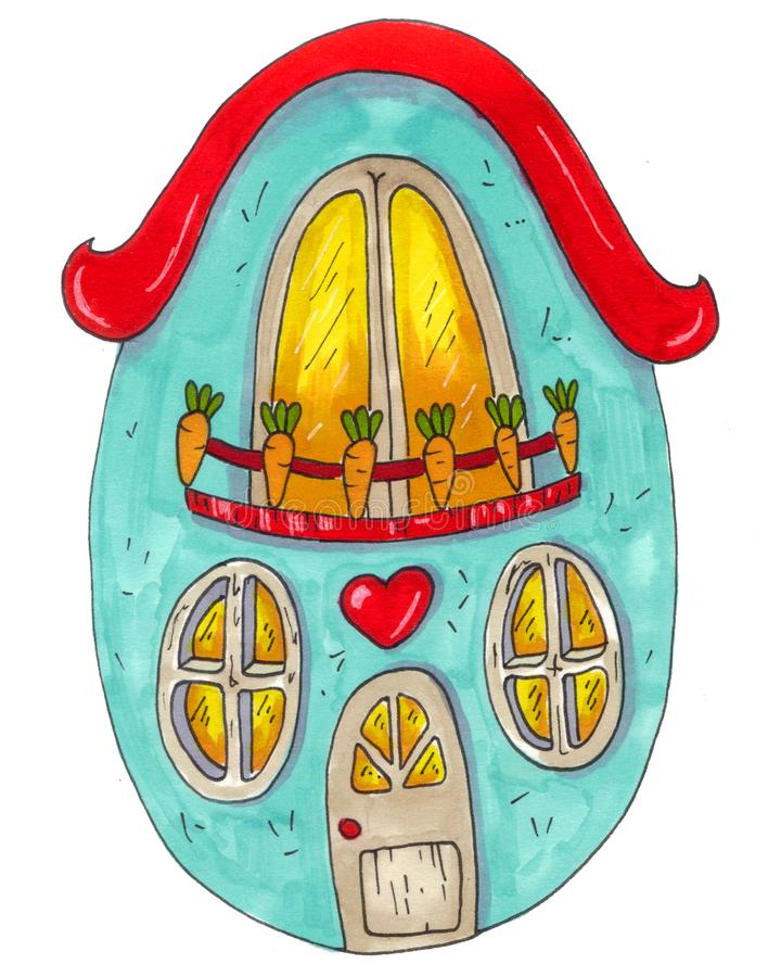 Egg house, comic style, fairytale illustration, element for book.Hand drawn with markers vector illustration