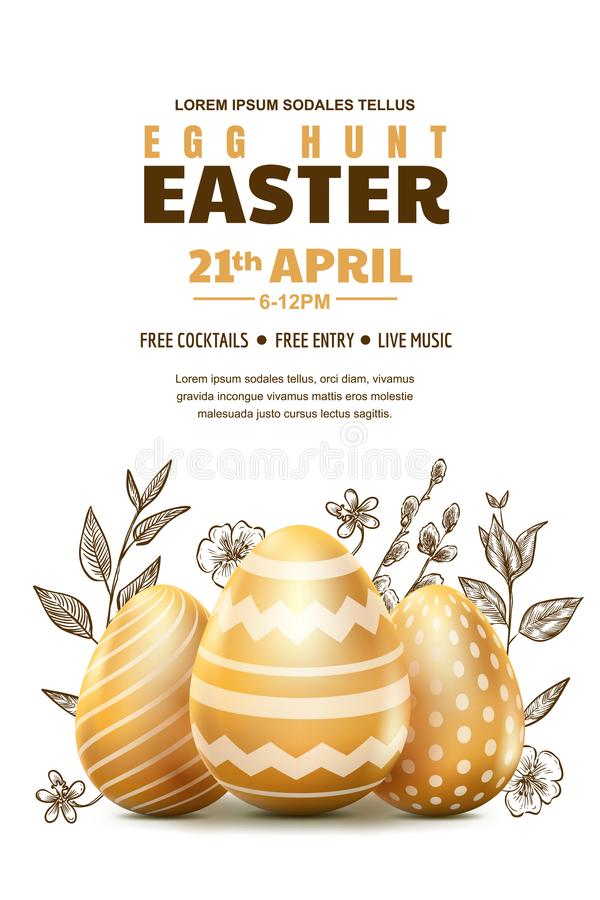 Egg hunt Easter poster or banner template. Vector illustration. 3d gold realistic eggs and sketch hand drawn leaves royalty free illustration