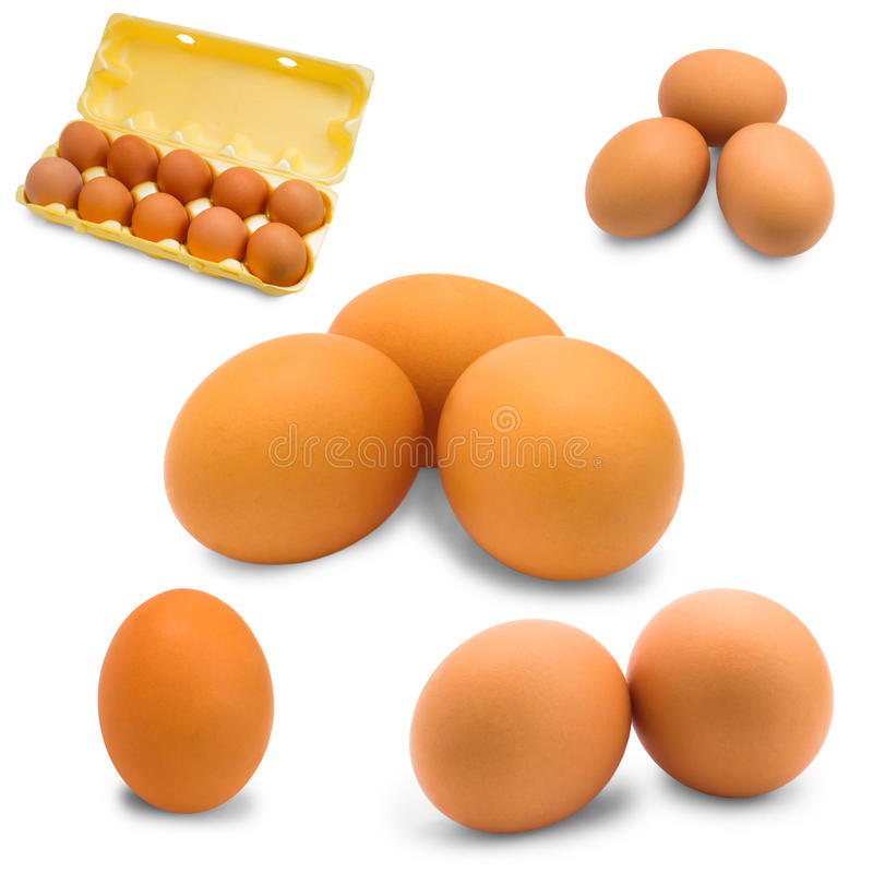 Egg isolated set raw breakfast fresh food protein stock photography