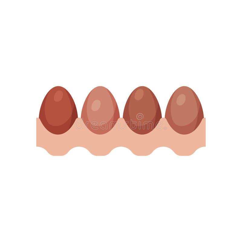 Egg le plateau avec l'illustration fraîche brune de vecteur d'oeufs de poulet illustration stock