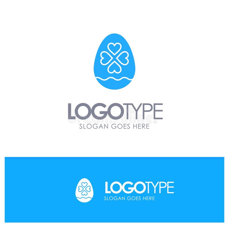 Egg, Love, Heart, Easter Blue Solid Logo with place for tagline royalty free illustration