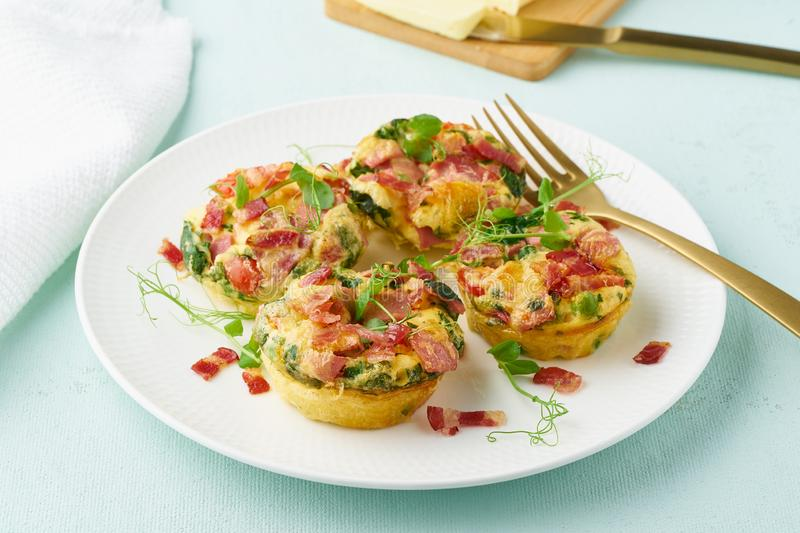 Egg muffin baked with bacon, ketogenic keto diet, pastel modern closeup royalty free stock photos