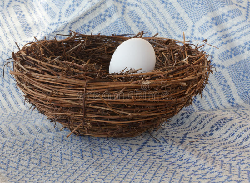 Egg in Nest. Single white Egg in a Nest with woven cloth background royalty free stock image