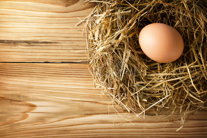 Egg in nest. Egg in hay nest on old wooden table background, top view royalty free stock images