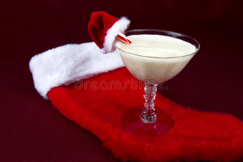 Download Egg Nog With Santa Hat And Stocking Stock Photo - Image: 28225412