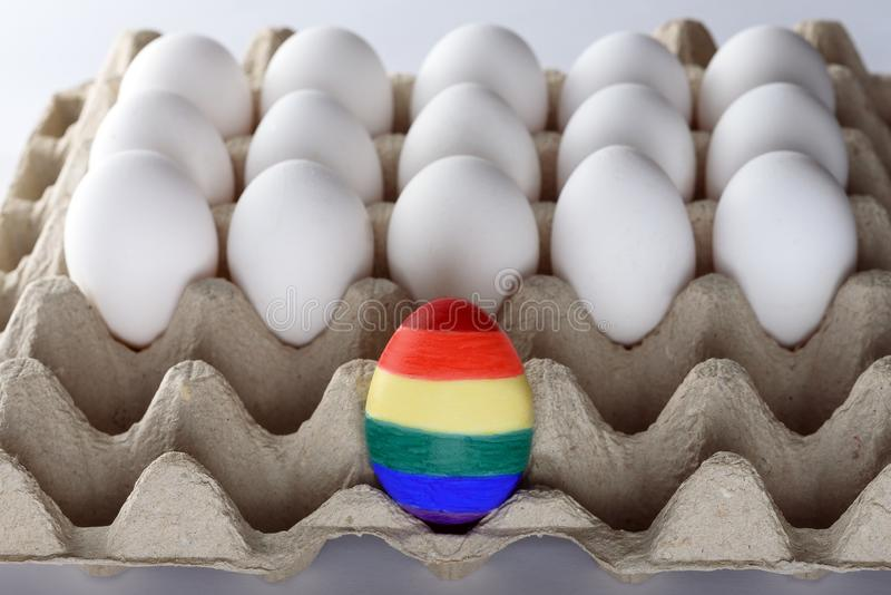Egg painted like a LGBT flag. Pride month LGBT rights lesbian gay bisexual transgender. Rainbow flag symbol Pride month. royalty free stock photos