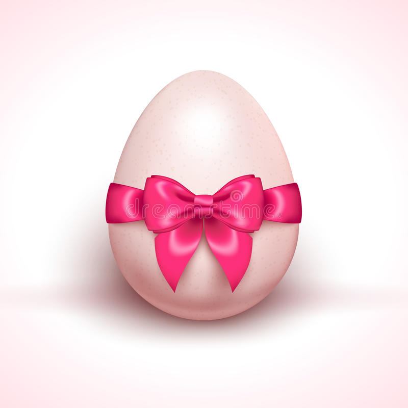 Download Egg With Pink Ribbon Bow  On White Stock Vector - Image: 83713856