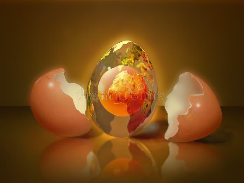 Egg planet - fantasy about Easter theme vector illustration