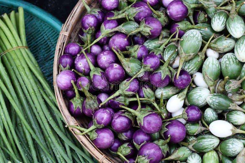 Egg plant is thai vegetable. At thai markets royalty free stock photos