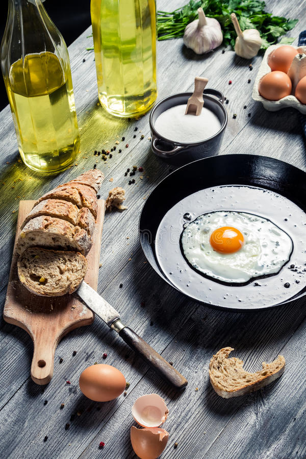 Egg served for breakfast with bread stock image