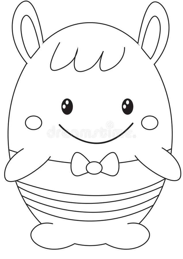 Download Egg Shaped Stuffed Toy Coloring Page Stock Illustration
