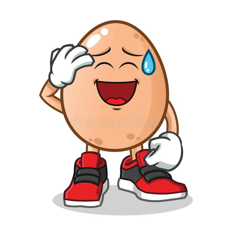 Egg smiling face with cold sweat mascot vector cartoon illustration royalty free illustration
