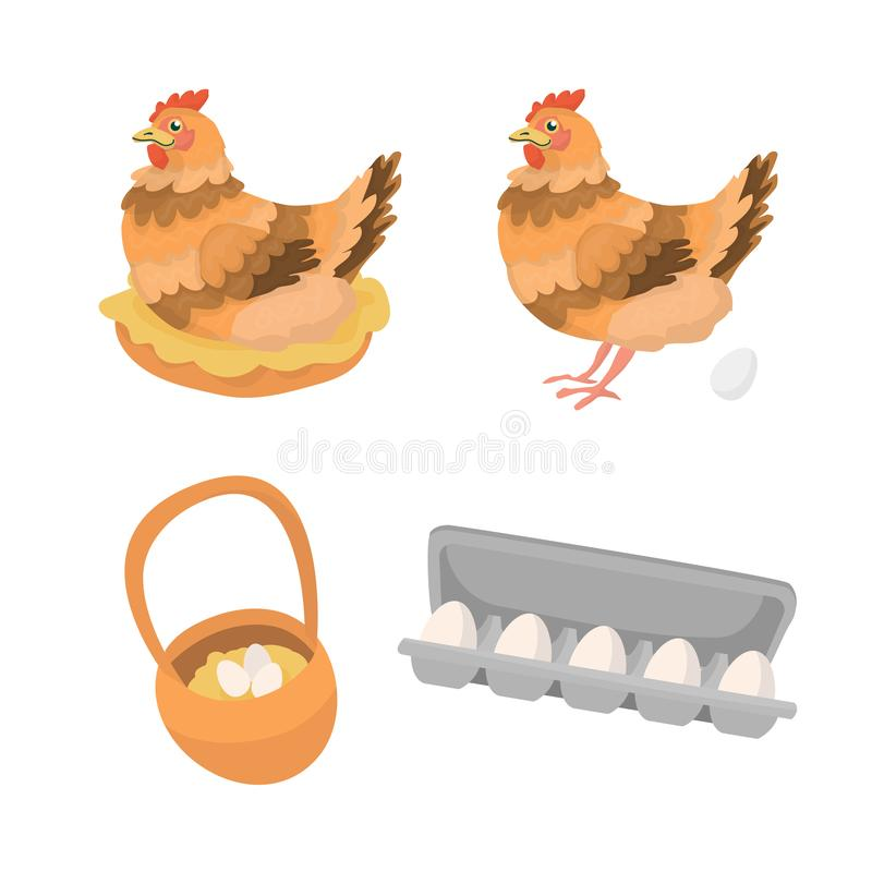 Egg story with hen stock illustration