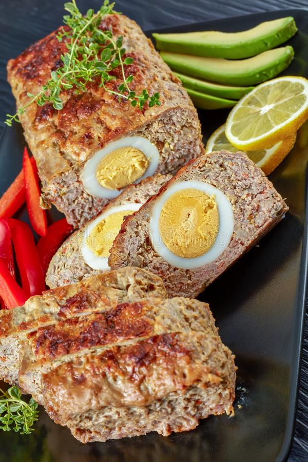 Free Egg Stuffed Meatloaf, Top View, Close Up Stock Photography - 136684852