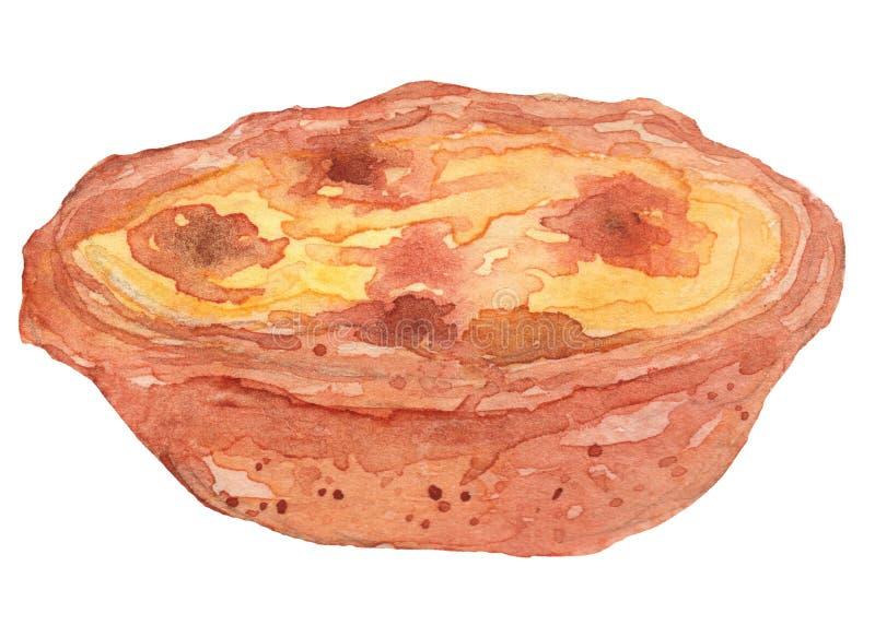 Egg Tart Watercolor Illustration stock photography