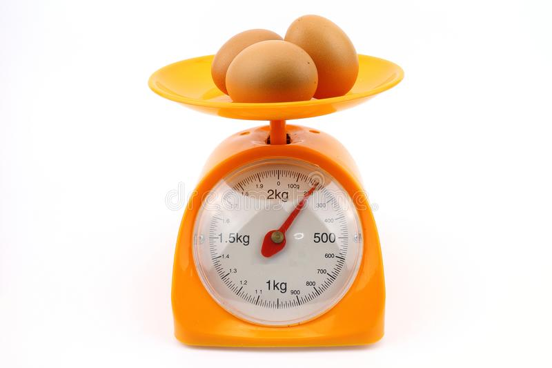 Egg on weight scale stock images