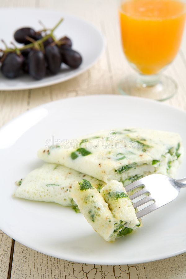Egg white and spinach omelet stock image