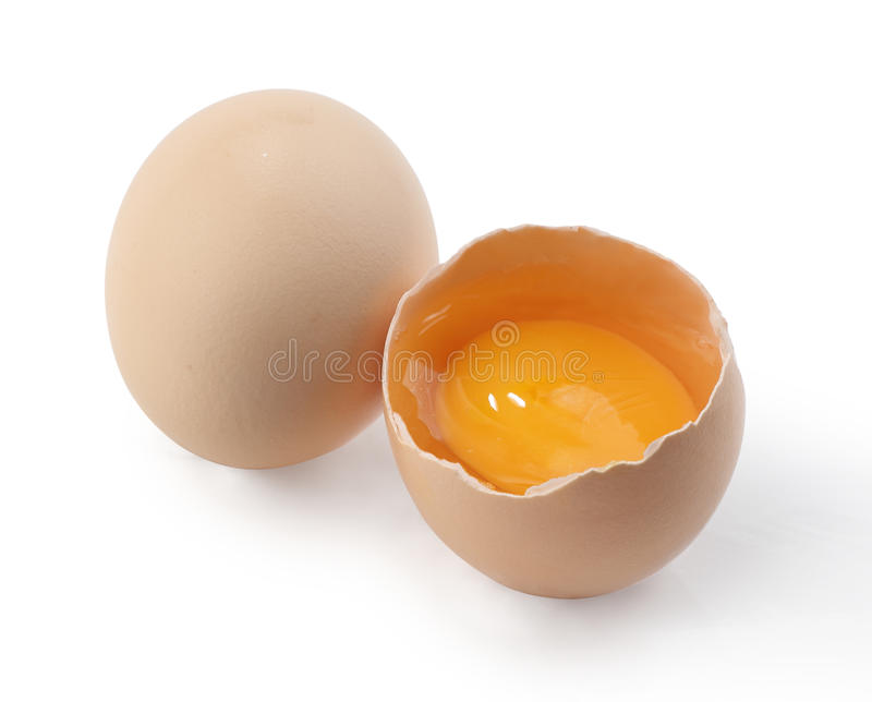 Egg with yolk. On white background stock image