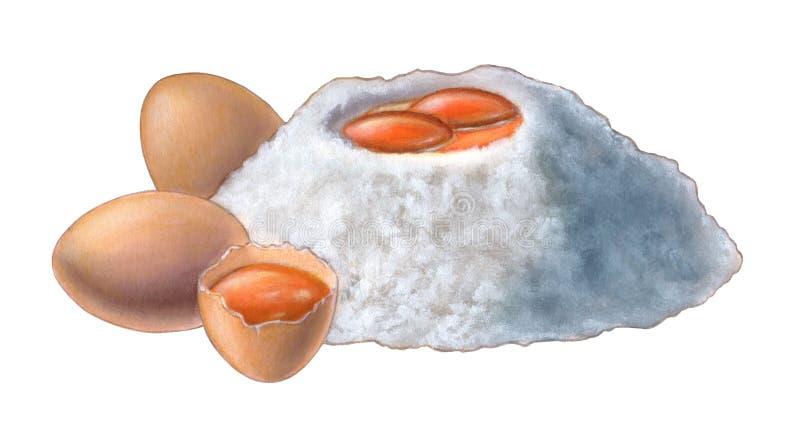 Egg yolks and flour. Hand painted illustration stock illustration
