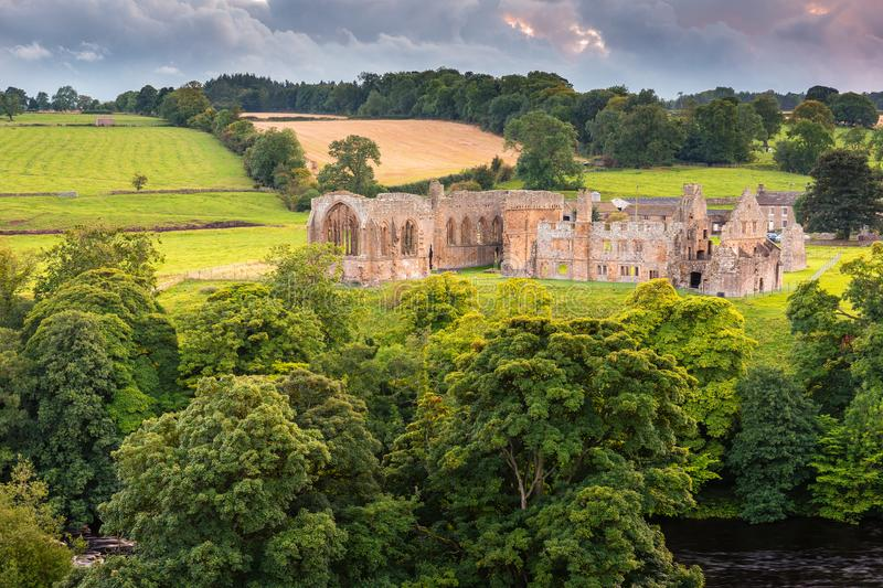 Egglestone Abbey on riverbank of River Tees royalty free stock photo