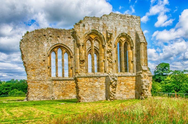 Egglestone Abbey ruins in County Durham stock image