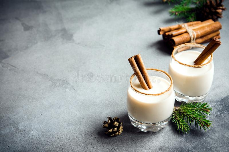 Christmas background with eggnog and cookies royalty free stock images