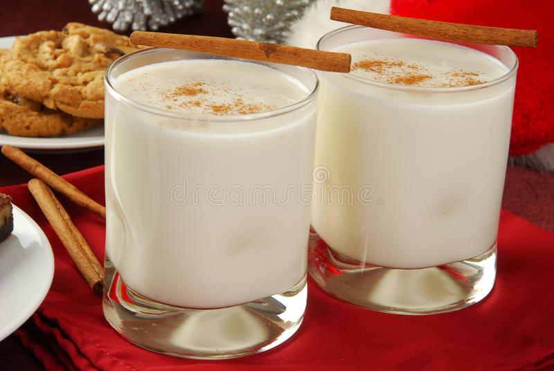Eggnog and Cookies stock images