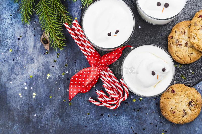 Eggnog and cookies for Santa royalty free stock images