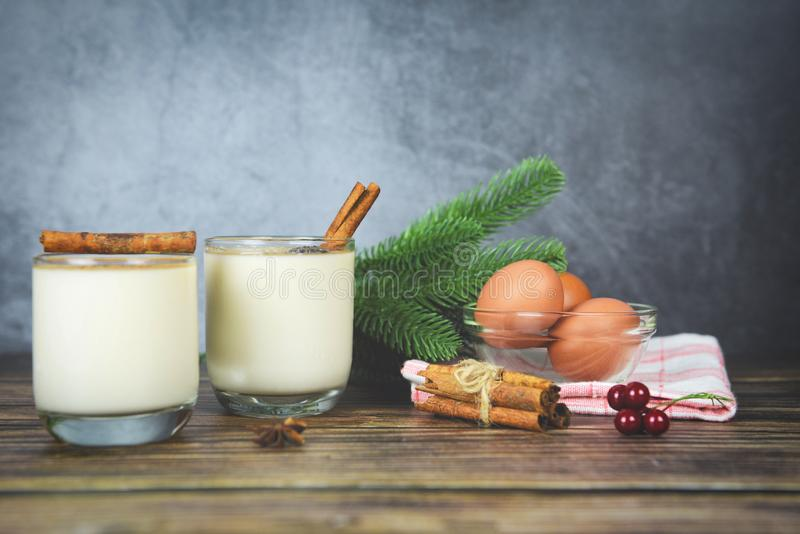 Eggnog delicious holiday drinks like themed parties with cinnamon and nutmeg Traditional Christmas and winter holidays Homemade stock photography
