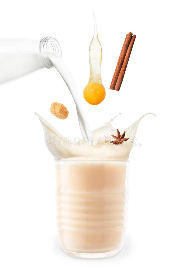 Eggnog isolated on white stock images