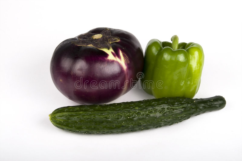Eggplant, Cucumber, Pepper royalty free stock image