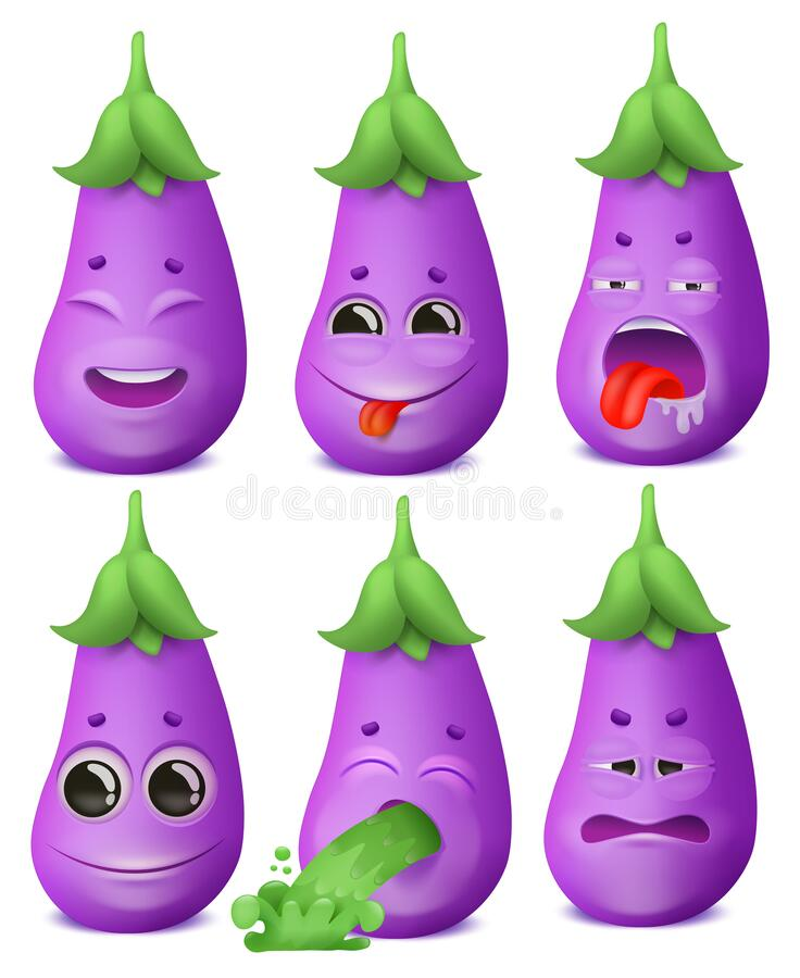 Eggplant emoji cartoon character set. Various emotions. Joy, disgust, boredom, disappointment. Vomiting. Eggplant emoji cartoon character set. Various emotions vector illustration