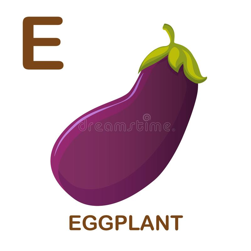 Eggplant icon with letter E. Cartoon style object. Vector Illustration. Eggplant vector icon. Icon with letter E. Illustration for alphabet on white background stock illustration