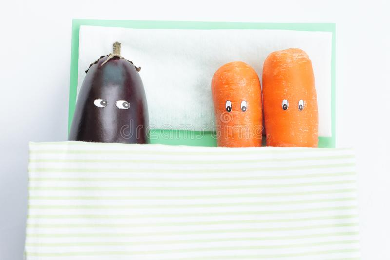 Eggplant lying with two carrots in bed stock images