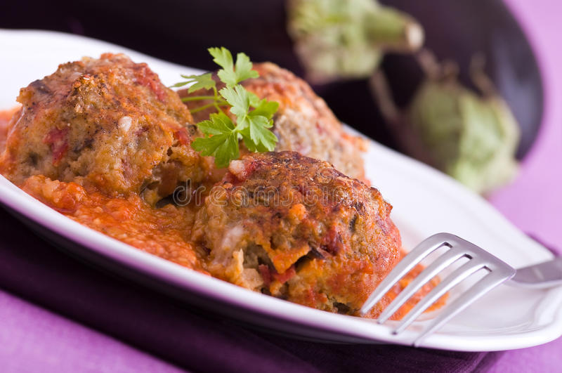 Eggplant meatballs. royalty free stock images